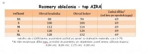 veľkostná tabuľka AIRA