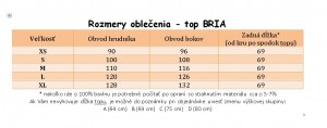 veľkostná tabuľka BRIA